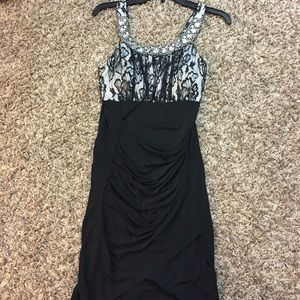 BONGO Dresses & Skirts - Black&White Lace Rhinestone Dress