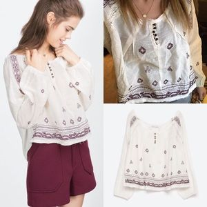 Zara Tops - NWT Zara embroidered peasant top crop shirt
