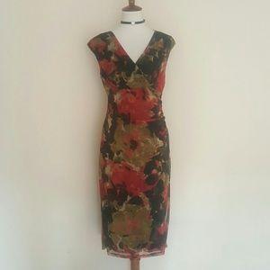 London Times Dresses & Skirts - London Times Red & Black Vneck Midi Dress