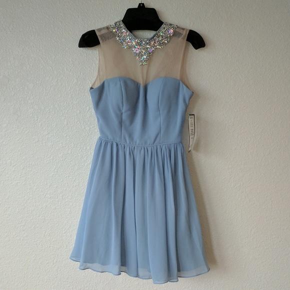 City Studio Dresses & Skirts - Blue Prom Dress with Bejeweled Neckline