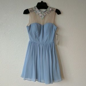 Blue Prom Dress with Bejeweled Neckline