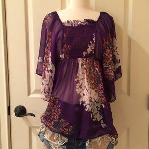 Purple Floral size small chiffon blouse