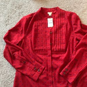 J crew factory red polka dot blouse