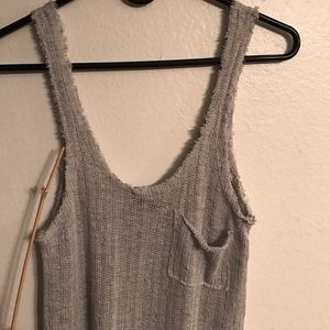 Wholesale ( 3pcs) Ribbed Grey pocket Tank