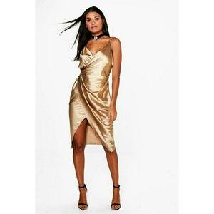 Gold satin wrap dress