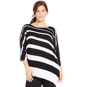 INC International Concepts Tops - INC Black & White Striped Asymmetrical Dolman Top