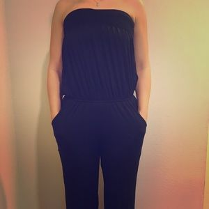 James & Joy Pants - Black tube jumpsuit/romper
