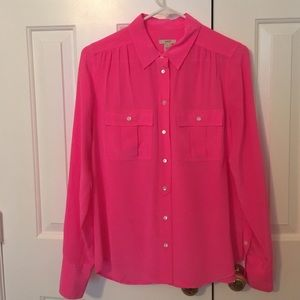 J Crew hot pink silk blouse