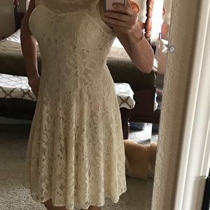 Champagne Dresses & Skirts - Cream lace dress with embroidered neckline