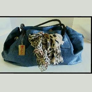 Penelope Ann Handbags - Penelope Ann Blue Denim-Look Faux Leather Handbag