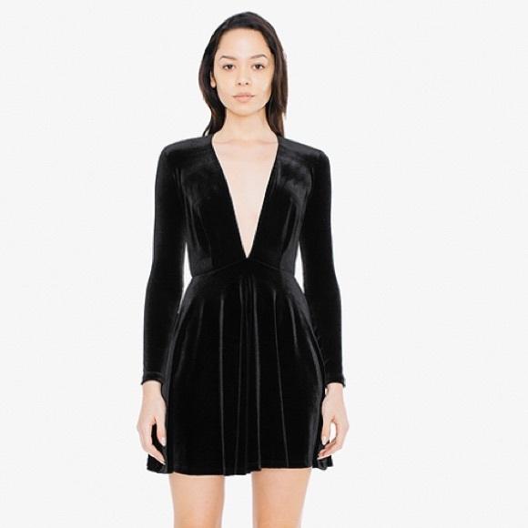 4212107652455e American Apparel Dresses   Skirts - American apparel velvet deep v skater  dress
