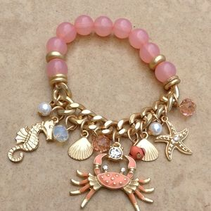 Gold Tone Coral Charm Beach Nautical Bead Bracelet