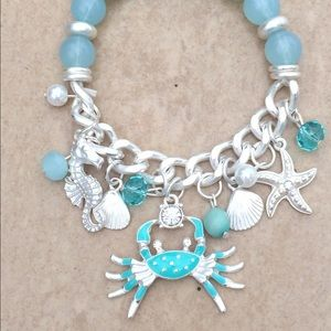 Silver Tone Blue Nautical Beach Charm Bracelet