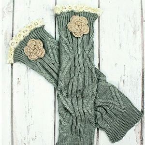 Justin Boots Accessories - 👢 Flower Accent ~ Sage Gray ~ Boot Cuffs 👢