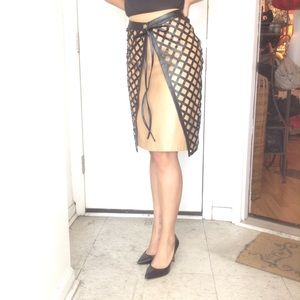 AX Armani Exchange Tan Leather Pencil Mini skirt.