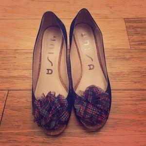Unisa Shoes - Denim and ruffle wedges