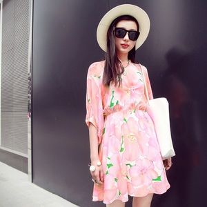  Spring Pink Chiffon Floral Dress Elastic Waist