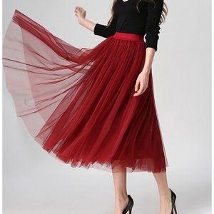 Red wine tulle skirt