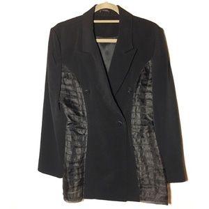 Vintage tuxedo blazer w/ chiffon paneling details