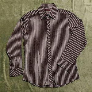 7 Diamonds  Other - 7 Diamonds Black Gray Stripe Dress Shirt L