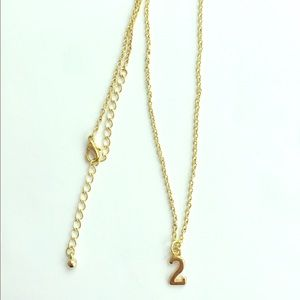 """Dainty gold """"#2"""" necklace"""
