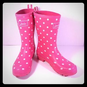 """Joules Shoes - Joules """"Molly Welly"""" Pink Polka Dot Rain Boot Sz 8"""