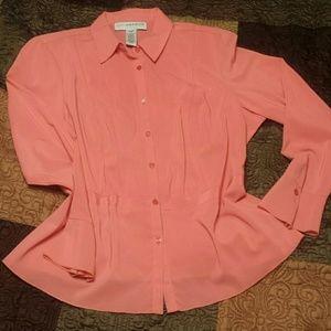 Sag Harbor Tops - Sag Harbor Woman Peach Silky Knit Blouse