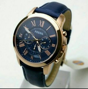 NWT fossil chronograph rose Gold & blue watch