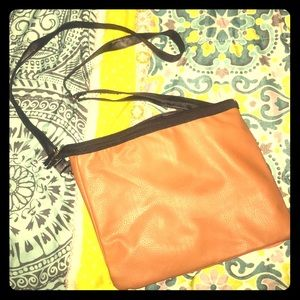 """Reversible"" Crossbody Bag in Tangerine and Camel"
