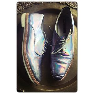 "Miista Shoes - Miista ""Zoe"" hologram Leather Oxford flats 40 sz 9"