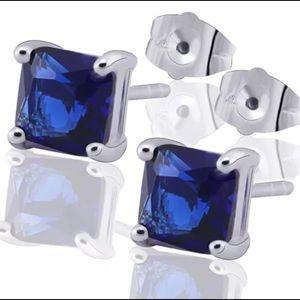 Princess Blue CZ 9k White Gold Filled Stud Earring