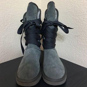 Gray ribbon ugg boots