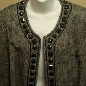 Cotton/Linen blend blazer jewel neckline & sleeves