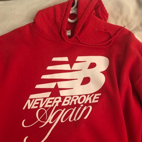 Never broke again, new balance themed sweatshirt