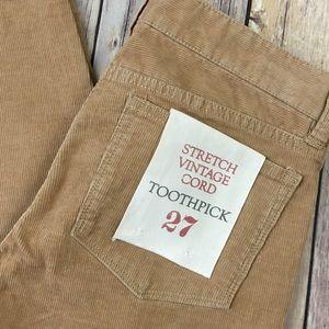 J. Crew Pants - J.Crew Pants Toothpick Cords 27 Tan Slim Skinny
