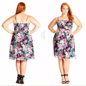 City Chic Dresses & Skirts - City Chic Tropicana Floral Chiffon Dress Plus Size