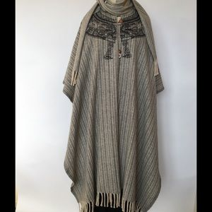 Vintage wool cape with folk art pattern