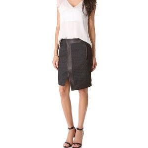Helmut Lang Dresses & Skirts - NWOT Helmut Lang Peak Angled Leather Trim Skirt