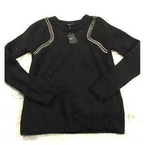 Maje Sweaters - Maje Black Angora Embellished Sweater