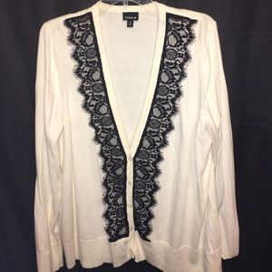 Torrid white cardigan with lace detail 