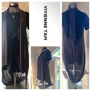 Vivienne Tam Charcoal Gray Shawl Sweater Vest