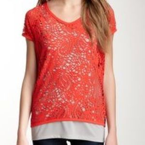 Vince Camuto Coral/Grey Deconstructed Layered Top