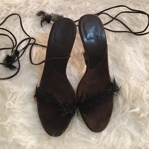 bebe Shoes - Leather and Feather Heels