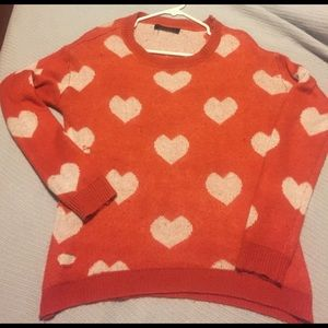 Adorable Orange Heart Sweater!
