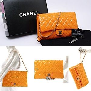 CHANEL Orange Patent Clutch/Shoulder/Wrist Bag