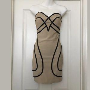 ANGL tight Bodycon stretch dress nude black Sz s