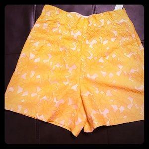 Zara high waisted yellow shorts
