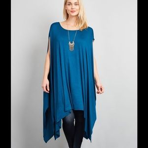 Peach Couture Tops - 🔴SALE🔴CHAMBRAY BLUE DRAPED TUNIC TOP