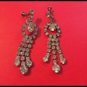 Jewelry - Vintage Rhinestone Chandelier Earrings