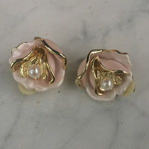 Vintage Jewelry - Vintage Clip On Pink Floral Pearl Gold Earrings